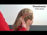 Прическа_ плетение косы из 4 прядей с лентой. 4 Strand Braid