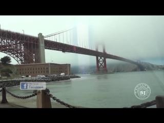 Загадочные столбы света - таинственные лучи по всему миру.Август 2015 - США, Сан-Франциско.
