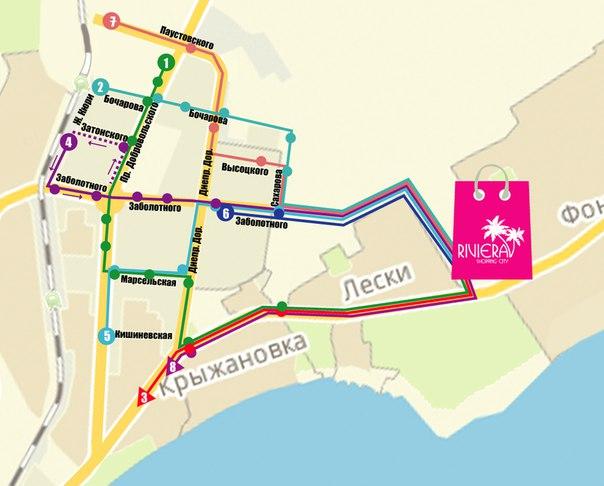 Карта движения маршрутов: