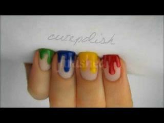 Маникюр потеки краски  Видео урок по дизайну ногтей