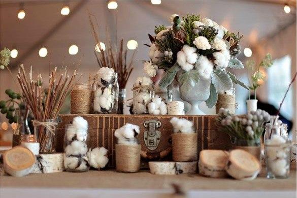 Применение хлопка в свадебном декоре