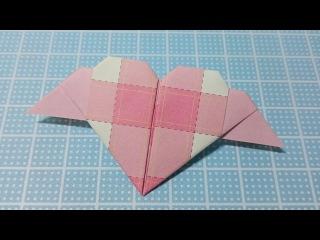 Валентина оригами из бумаги (виде сердца ангел)