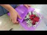 Making Flower Bouquet Small posy of 5 red roses handbouquet Singapore Florist