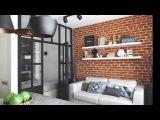 Дизайн малогабаритной однокомнатной квартиры 33 кв.м в стиле лофт