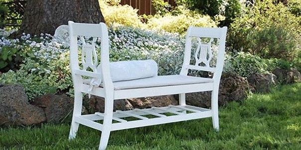 Как сделать скамью из старых стульев