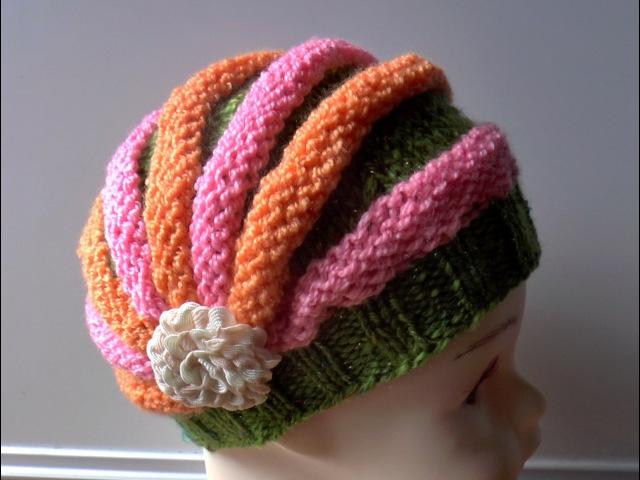 Шапка Зефирка. Шапка жгутами. Шапка спицами для девочки. Зефирка. Шапка спицами. (knitting cap)