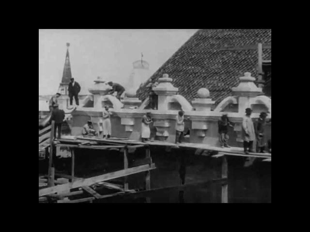Казанский вокзал строится в Москве. 1918 год.