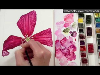 How to paint realistic flower stamens in watercolour by Anna Mason