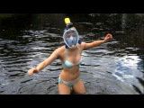 FreeBreath EasyBreath Full Face diving mask + EKEN H9 camera - Girl swimming & snorkeling underwater