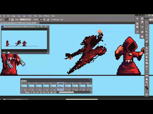 Planet Centauri - How to Pixel Art part 2 : Monk attack animation!