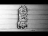 Как нарисовать простой рисунок 3D карандашом на бумаге МИНЬЕН