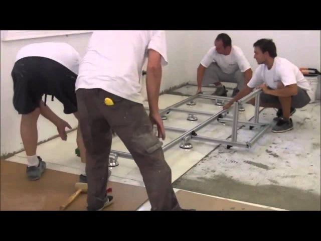Укладка огромной плитки размер 3х1,5 метра