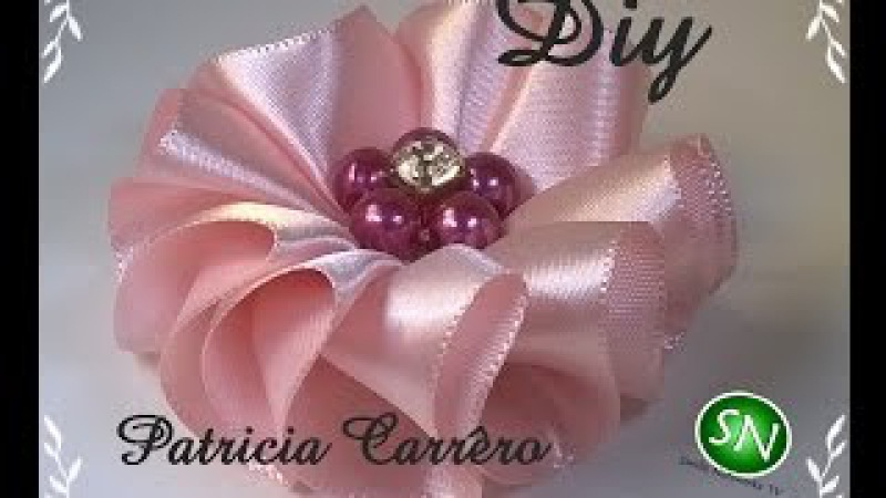 Flor de fita ondas Diy \ Ribbon flower waves Diy