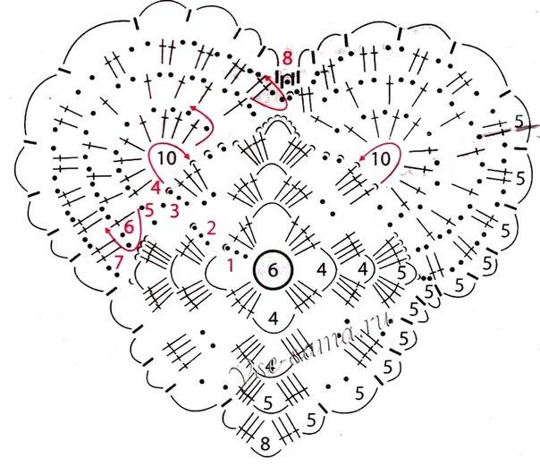 Вязание валентинок крючком схемы 7