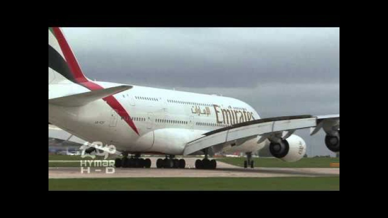 Emirates Airline Airbus A380 Manchester Airport Up Close Heavy Landing Wingflex