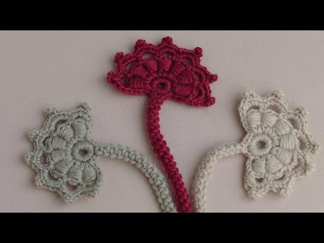 Вязание крючком бутона цветка. Мотив для ирландского кружева.Урок вязания.