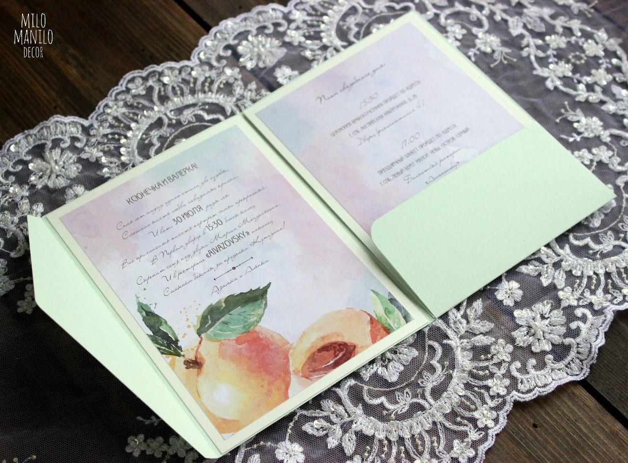 приглашение на свадьбу с персиками