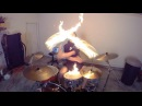 Burn Drum Cover with Fire Sticks Ellie Goulding Drumming With Fire Brit Awards 2014 song