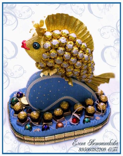 Золотая рыбка из конфет своими руками пошаговое фото для начинающих 73