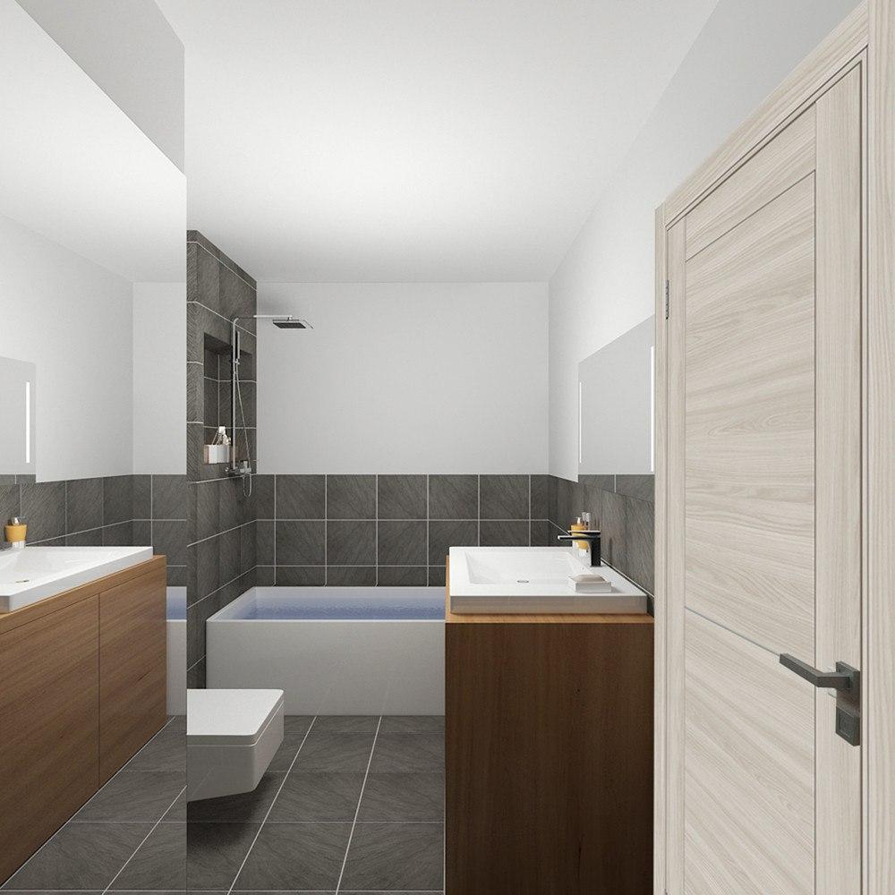 Концепт квадратной студии 30 м для молодого холостяка, дизайн Татьяны Поляковой.