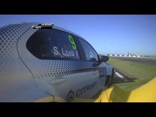 Sébastien Loeb and Rob Huff avoid a big crash in Race 2 Shanghai