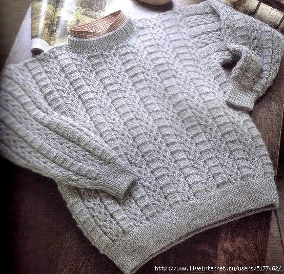 Мужской пуловер спицами. (3 фото) - картинка