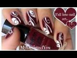 Abstract Nail Art  Burgundy Madam Glam Nails