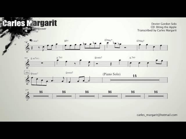 Blue Bossa/Kenny Dorham. Dexter Gordon's Solo Transcription.Transcribed by Carles Margarit