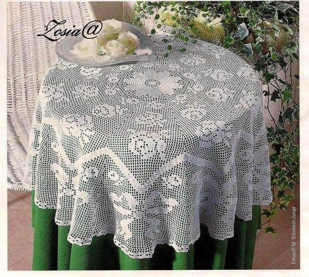 Delicadezas en crochet Gabriela: MANTEL REDONDO CON LAS ROSAS