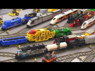 My LEGO Trains in action! 🚄 45 locomotives & cars 🚂