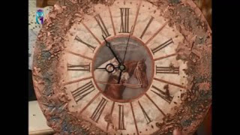 Декупаж часов объемным декором имитируя металлическую поверхность Мастер класс Наташа Фохтина смотреть онлайн без регистрации