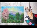 Видео урок Рисуем Гуашью Цветущий пейзаж! Dari Art