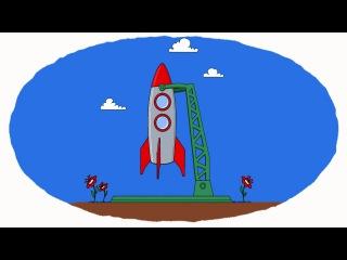 Космос - Белка и Стрелка - Мультик - Раскраска -Учим Цвета с Озорной семейкой
