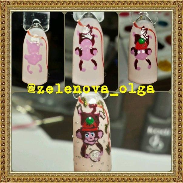 Дизайн новогодних ногтей с обезьянкой
