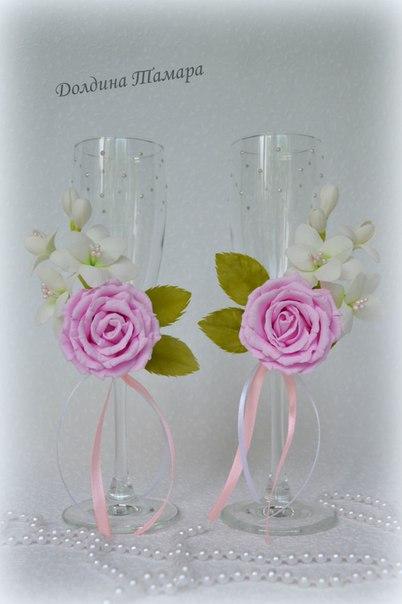 Свадебные бокалы. Композиция выполнена из фоамирана…. (6 фото) - картинка