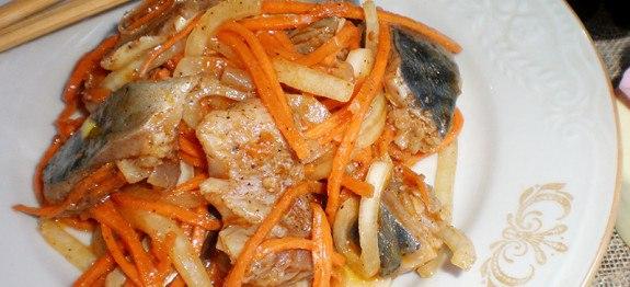 Корейский салат с рыбой фото