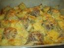 Мясные ежики с картошкой под сырной шапкой в духовке
