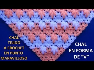 Chal en punta # 4 tejido a crochet en punto maravilloso paso a paso