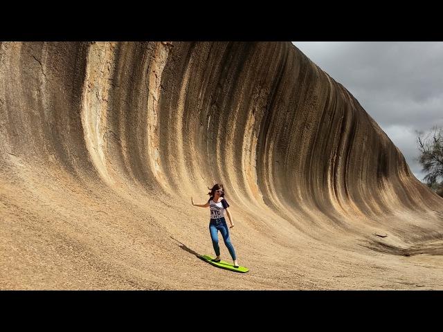 ЧУДЕСА СВЕТА Австралия ЗНАМЕНИТАЯ КАМЕННАЯ ВОЛНА WAVE ROCK AUSTRALIA