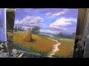 Пейзаж, пшеничное поле.Уроки для новичков, масляная живопись.И.Сахаров