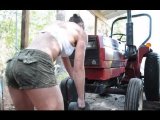 Farm Girl - BEAUTIFUL 47 YEAR OLD MOM pulls tractor and lifts tractor weights for workout.