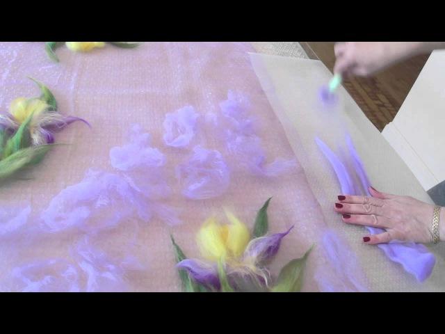 Видеоурок: валяние палантина с ирисами. Версия для ЯМ