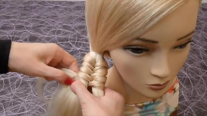 Прическа Необычная коса на каждый день_ в школу, на работу для средних и длинных волос » Freewka.com - Смотреть онлайн в хорощем качестве