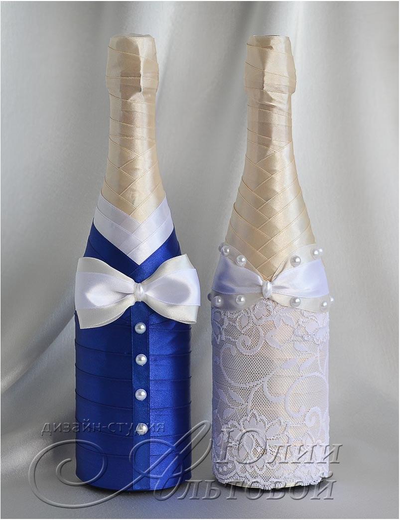 Бутылки шампанского на свадьбу лентами своими руками фото