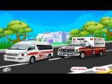 Ambulance CAR WASH. Cartoon about cars. Скорая помощь и АВТОМОЙКА. Мультики про Машинки.