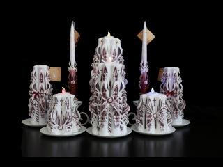 Резные свечи. Свадебная коллекция.