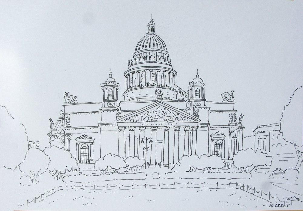 Исаакиевский собор рисунки карандашом