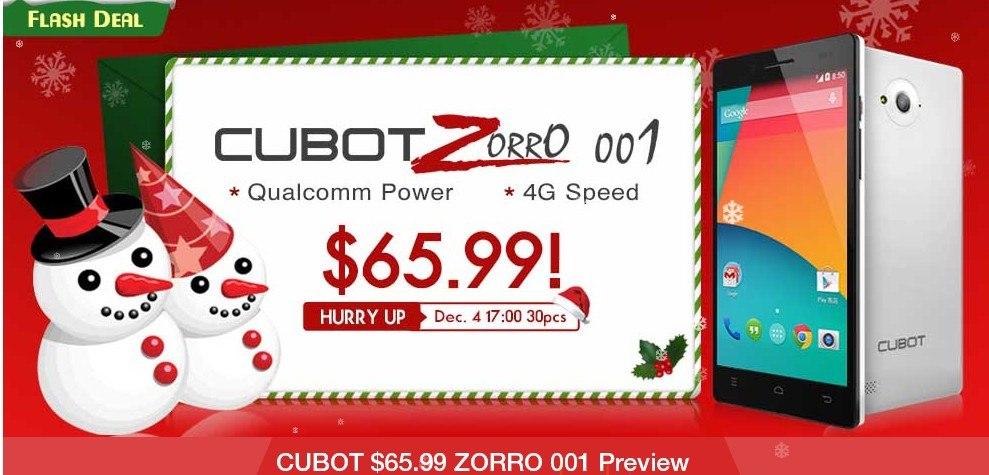 Смартфон CUBOT ZORRO 001 за 65.99$ от TinyDeal