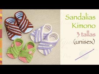 Sandalias kimono para bebes tejidas a crochet (unisex en 3 tallas!)