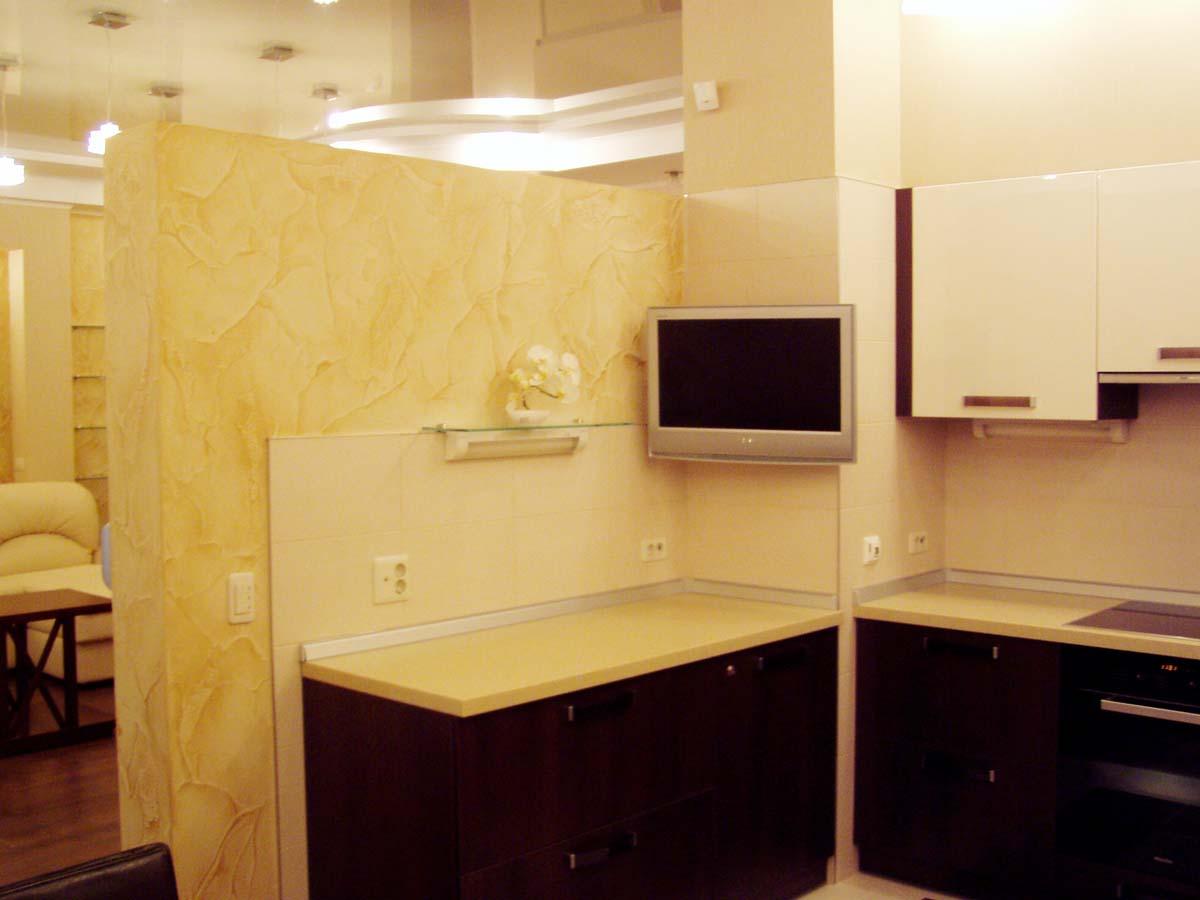 Квартира-студия, дизайнер Вера Кальпиди, фотографии реализованного проекта по 3D ниже.